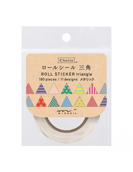 adesivi chiudi pacco in rotolo Midori Chotto Roll Stickers triangle metallic vista confezione
