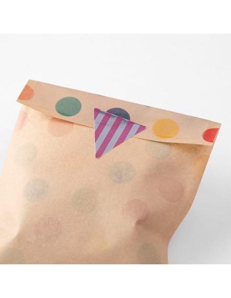 adesivi chiudi pacco in rotolo Midori Chotto Roll Stickers triangle metallic vista in uso