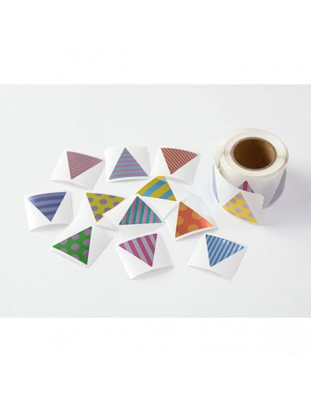 adesivi chiudi pacco in rotolo Midori Chotto Roll Stickers triangle metallic pezzettini