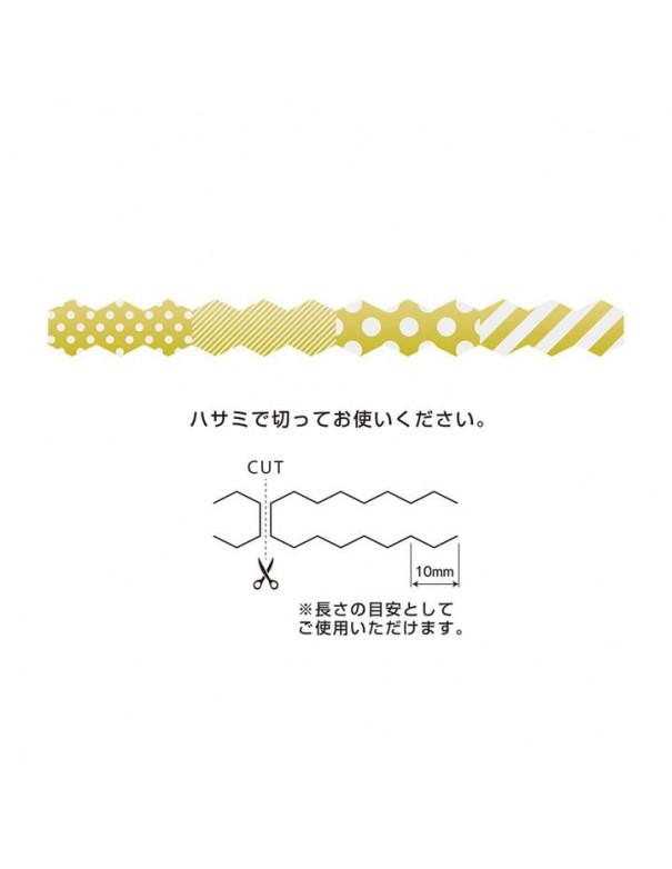 Nastro adesivo Seal Tape Dots Stripe Gold Midori Chotto dettagli
