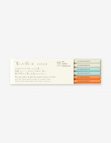 Confezione 6 matite colorate MD Paper  2 grigie 2 arancioni e 2 azzurre
