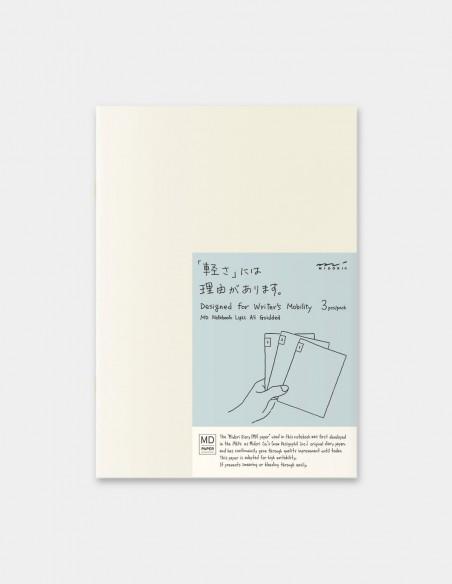quaderni MD PAPER Notebook Light A 5 Gridded confezione da 3 pezzi vista frontale