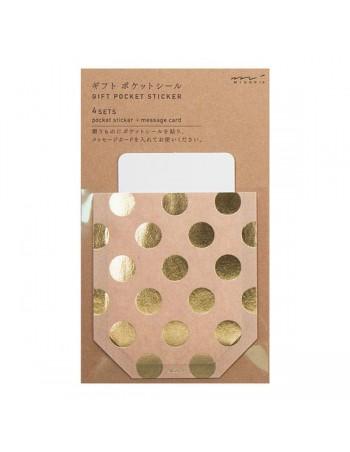 tasca adesiva per regali con bigliettino Chotto Midori Dot Gold vista confezione