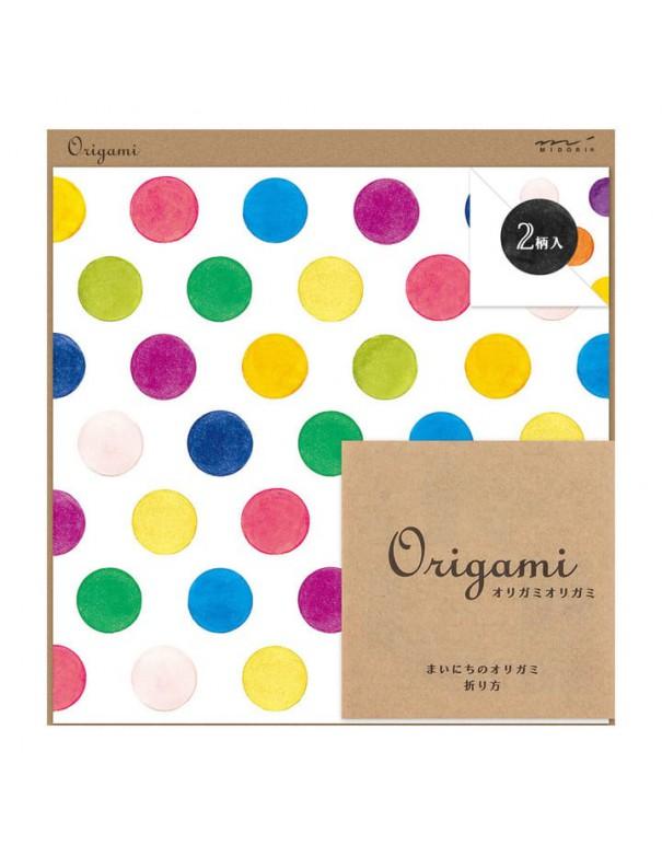 carta origami acquerello MIDORI CHOTTO Watercolor Dots vista confezione