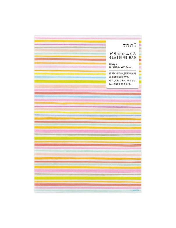 Bustine GLASSINE BAG Chotto Midori Watercolor Border Pink taglia MEDIUM adatto anche per alimenti vista confezione