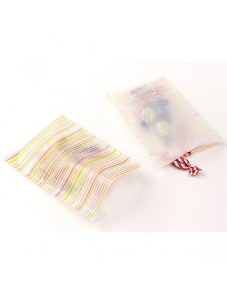 Bustine GLASSINE BAG Chotto Midori Watercolor Border Pink taglia MEDIUM adatto anche per alimenti vista in uso