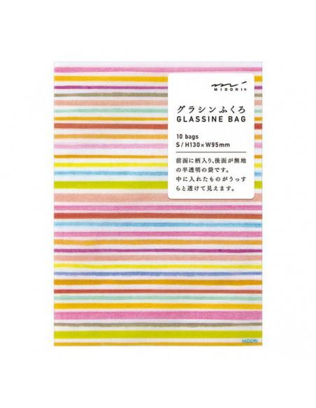 Bustine GLASSINE BAG Chotto Midori Watercolor Border Pink taglia SMALL adatto anche per alimenti vista confezione