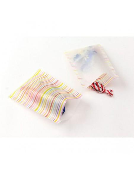 Bustine GLASSINE BAG Chotto Midori Watercolor Border Pink taglia SMALL adatto anche per alimenti vista in uso
