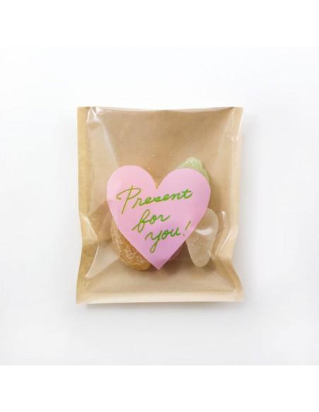bustine clear faced bag chotto midori taglia SMALL Front Print Heart Pink vista con caramelle