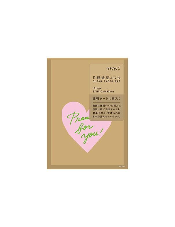 bustine clear faced bag chotto midori taglia SMALL Front Print Heart Pink vista confezione