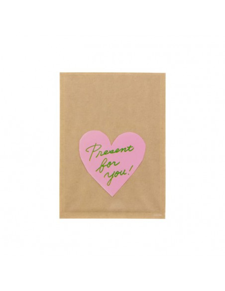 bustine clear faced bag chotto midori taglia SMALL Front Print Heart Pink vista frontale