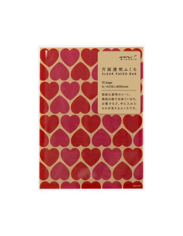 bustine clear faced bag chotto midori taglia SMALL Kraft Heart Pink vista confezione
