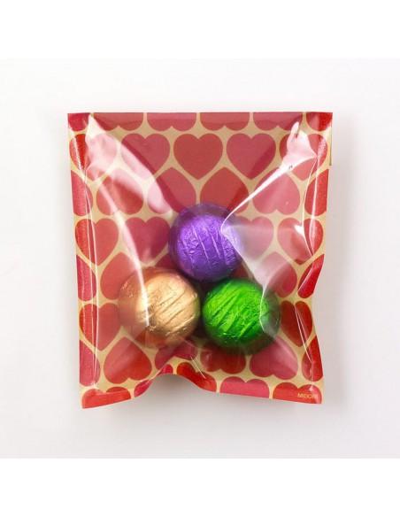 bustine clear faced bag chotto midori taglia SMALL Kraft Heart Pink vista con caramelle