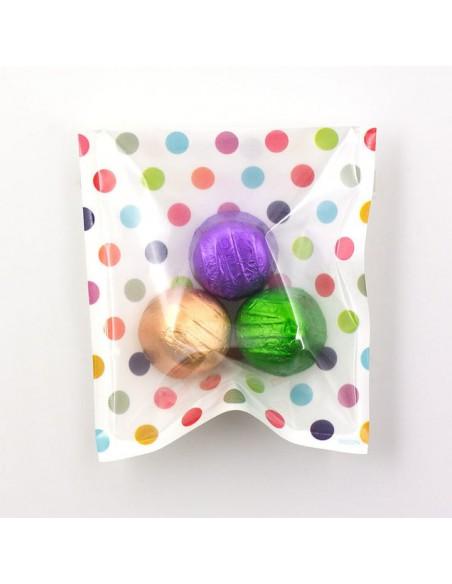 bustine clear faced bag chotto midori taglia SMALL Colour dots vista con caramelle