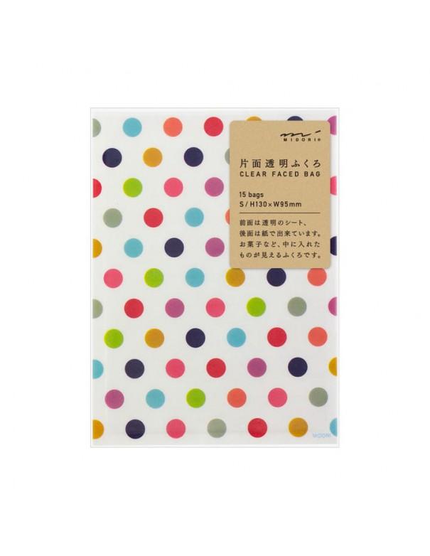 bustine clear faced bag chotto midori taglia SMALL Colour dots vista confezione