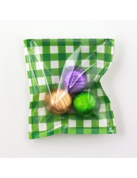 bustine clear faced bag chotto midori taglia SMALL check green vista con caramelle