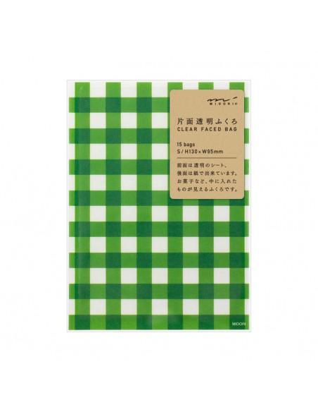bustine clear faced bag chotto midori taglia SMALL check green vista confezione