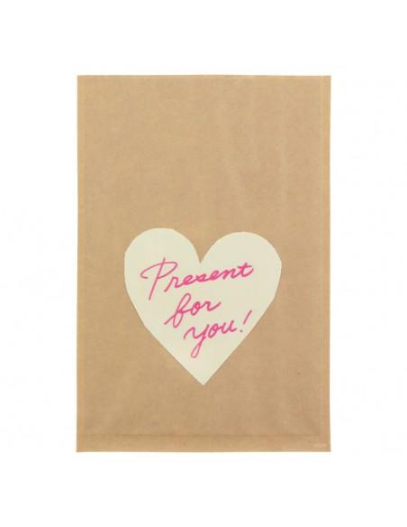 bustine clear faced bag chotto midori taglia M front print heart white vista frontale