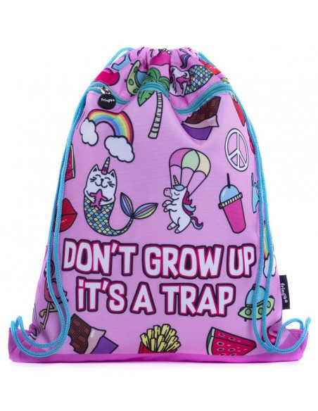 sacca con tasca frontale DON'T GROW UP vista frontale