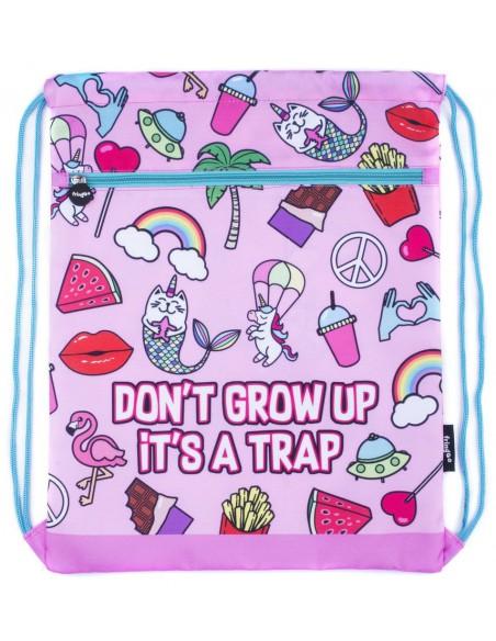 sacca con tasca frontale DON'T GROW UP vista piatta